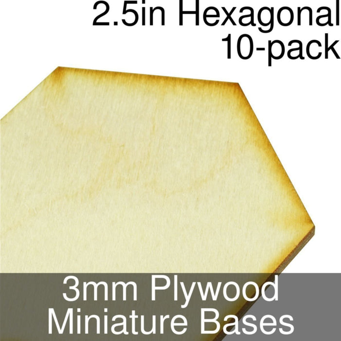 Miniature Bases, Hexagonal, 2.5inch, 3mm Plywood (10) - LITKO Game Accessories