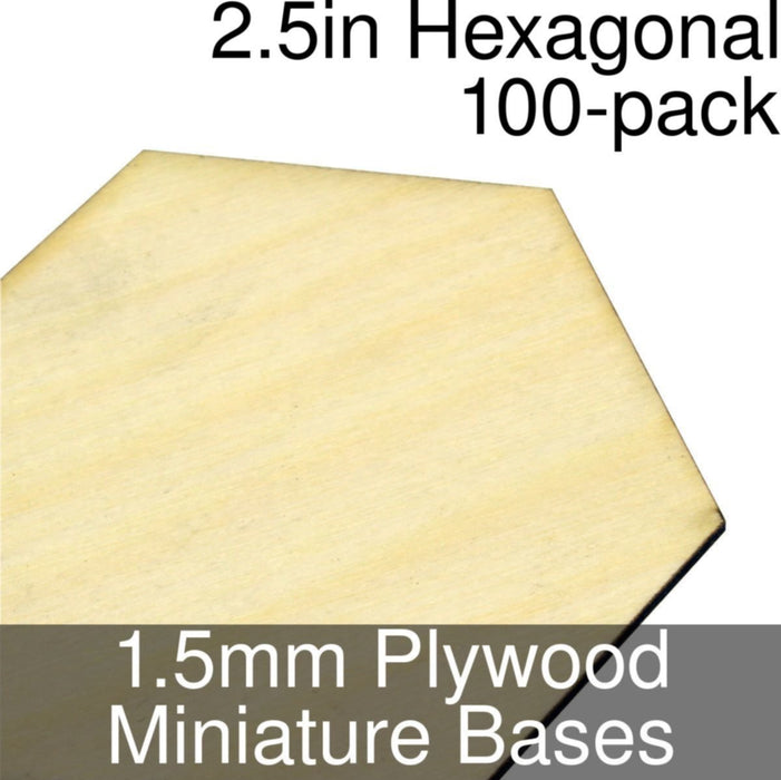 Miniature Bases, Hexagonal, 2.5inch, 1.5mm Plywood (100) - LITKO Game Accessories