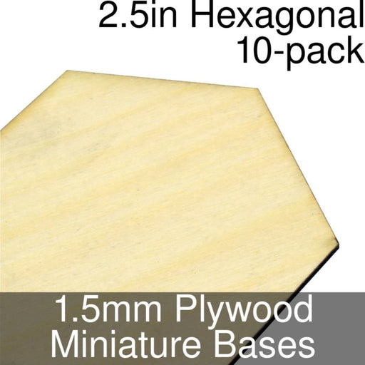 Miniature Bases, Hexagonal, 2.5inch, 1.5mm Plywood (10) - LITKO Game Accessories