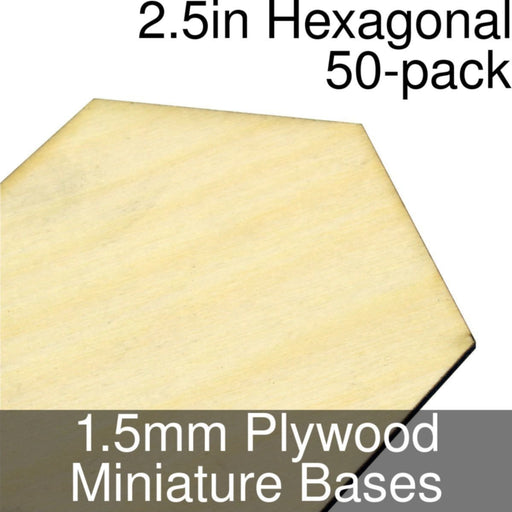 Miniature Bases, Hexagonal, 2.5inch, 1.5mm Plywood (50) - LITKO Game Accessories