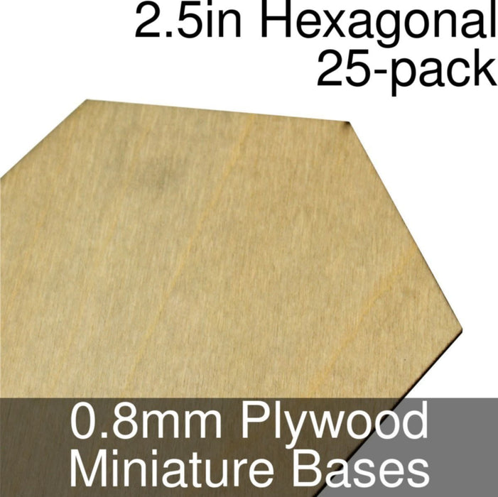 Miniature Bases, Hexagonal, 2.5inch, 0.8mm Plywood (25) - LITKO Game Accessories