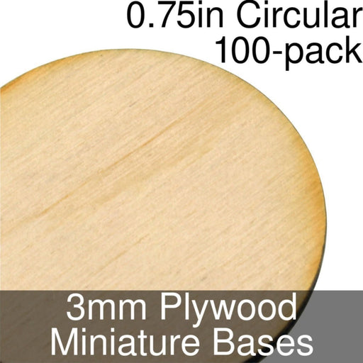 Miniature Bases, Circular, 0.75inch, 3mm Plywood (100) - LITKO Game Accessories