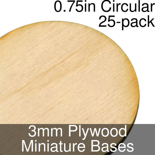 Miniature Bases, Circular, 0.75inch, 3mm Plywood (25) - LITKO Game Accessories