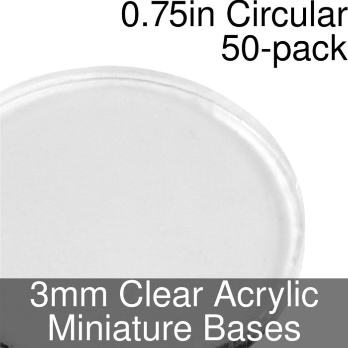 Miniature Bases, Circular, 0.75inch, 3mm Clear (50) - LITKO Game Accessories