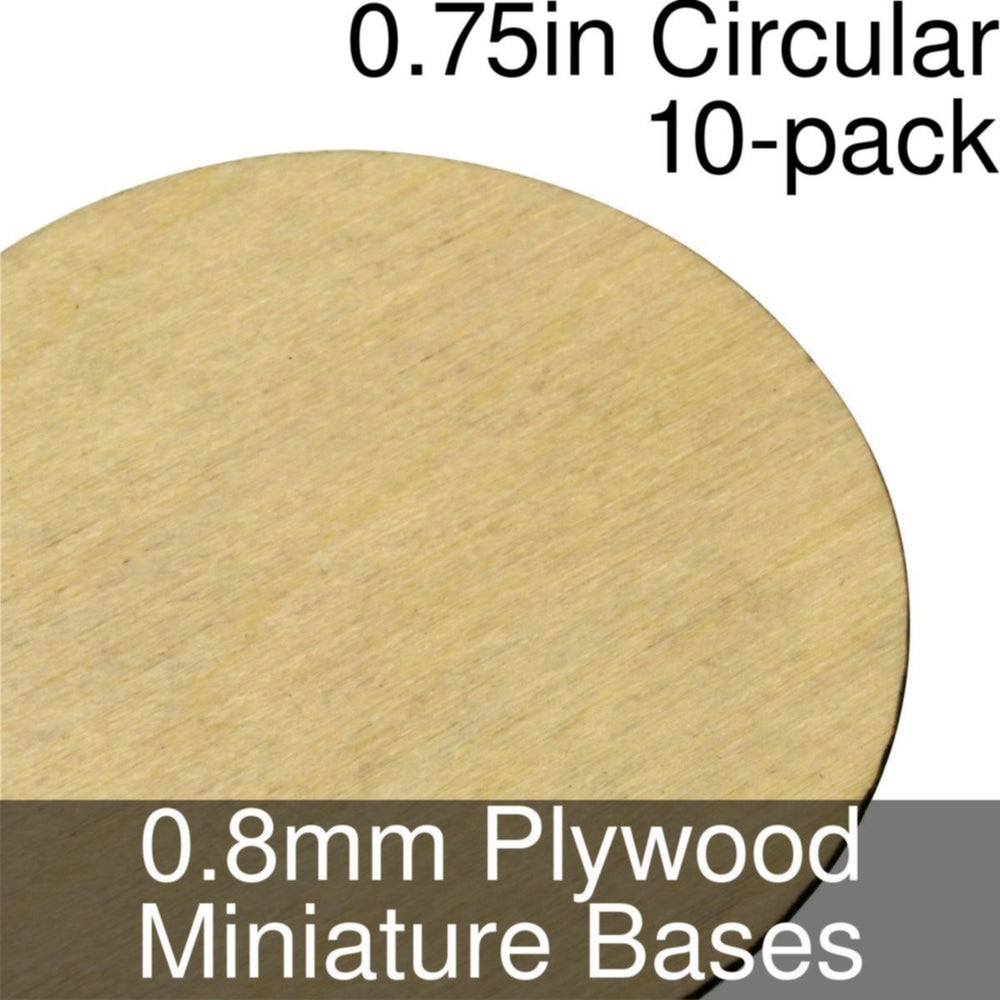 Miniature Bases, Circular, 0.75inch, 0.8mm Plywood (10) - LITKO Game Accessories