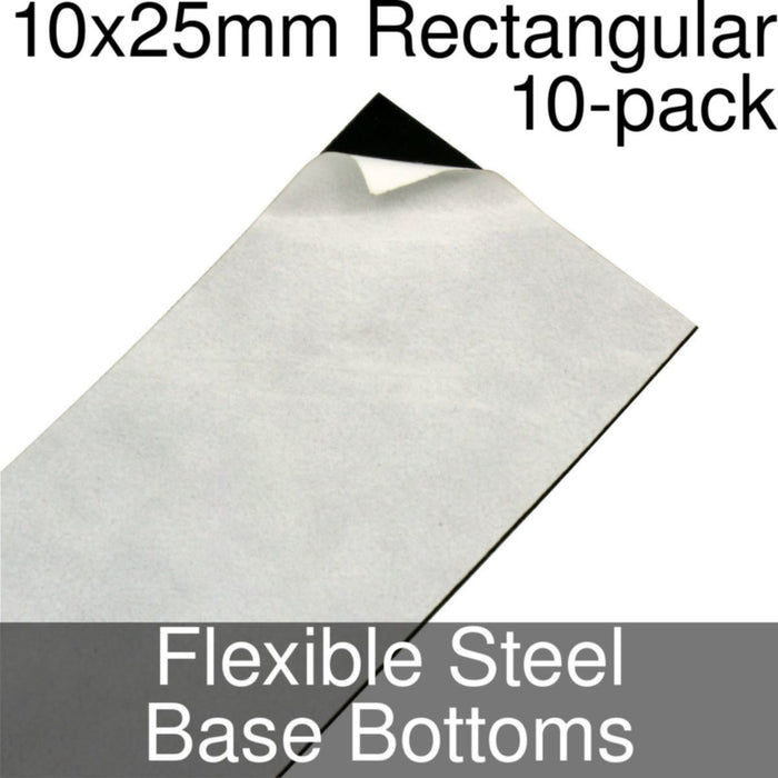 Miniature Base Bottoms, Rectangular, 10x25mm, Flexible Steel (10) - LITKO Game Accessories