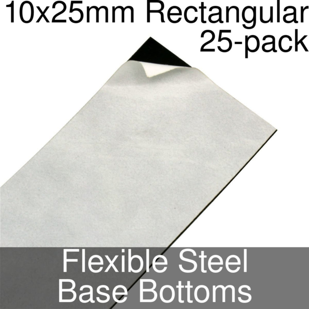 Miniature Base Bottoms, Rectangular, 10x25mm, Flexible Steel (25) - LITKO Game Accessories
