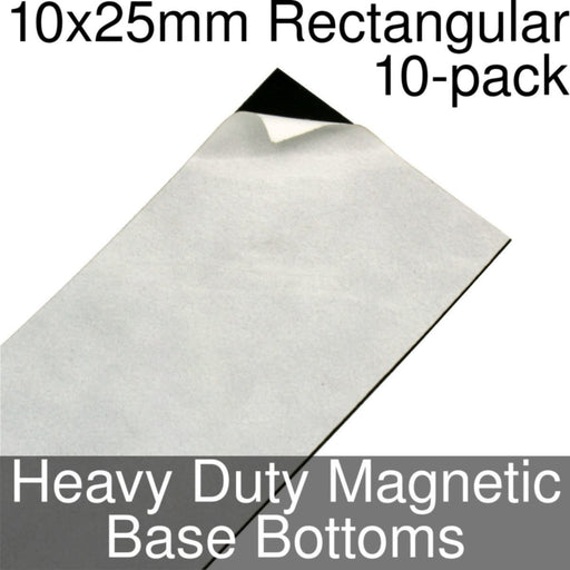 Miniature Base Bottoms, Rectangular, 10x25mm, Heavy Duty Magnet (10) - LITKO Game Accessories