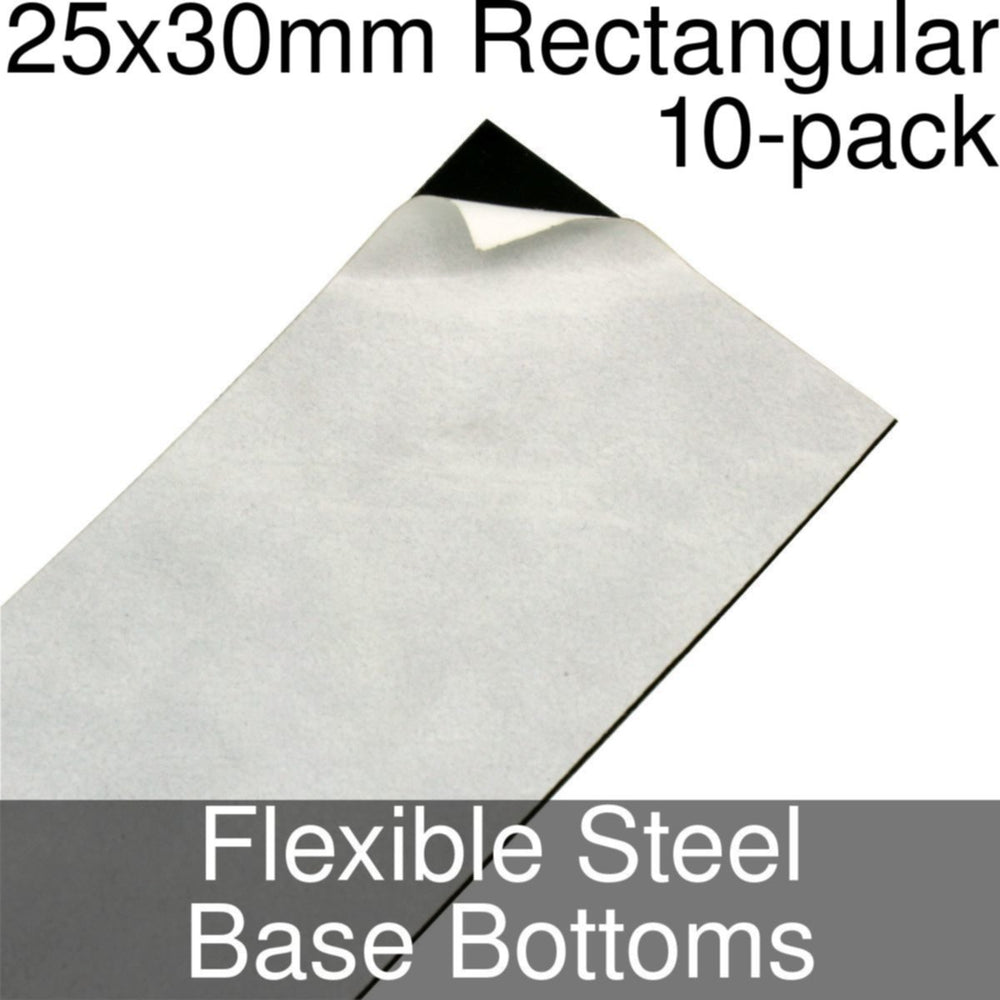 Miniature Base Bottoms, Rectangular, 25x30mm, Flexible Steel (10) - LITKO Game Accessories