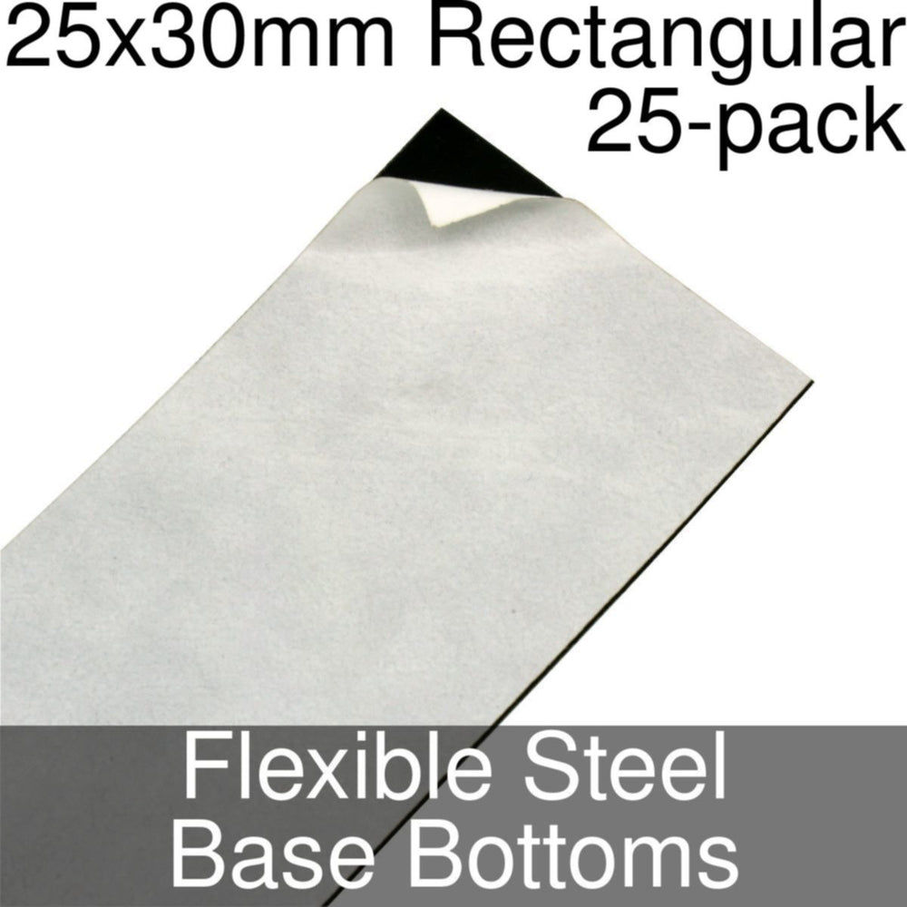 Miniature Base Bottoms, Rectangular, 25x30mm, Flexible Steel (25) - LITKO Game Accessories
