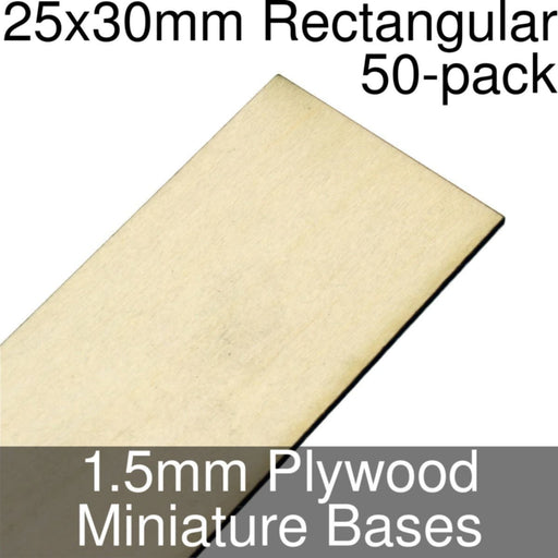Miniature Bases, Rectangular, 25x30mm, 1.5mm Plywood (50) - LITKO Game Accessories