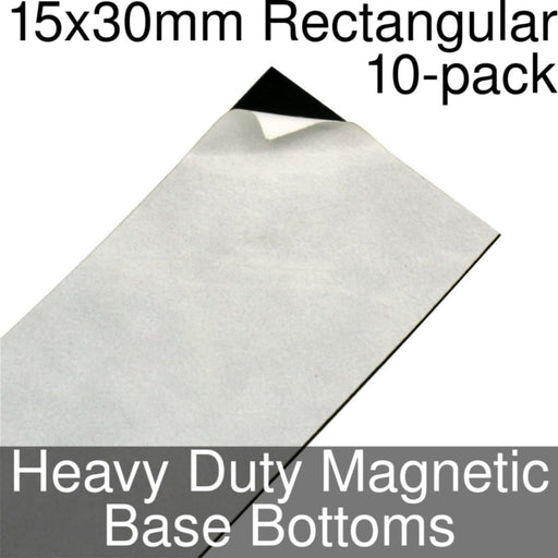 Miniature Base Bottoms, Rectangular, 15x30mm, Heavy Duty Magnet (10) - LITKO Game Accessories