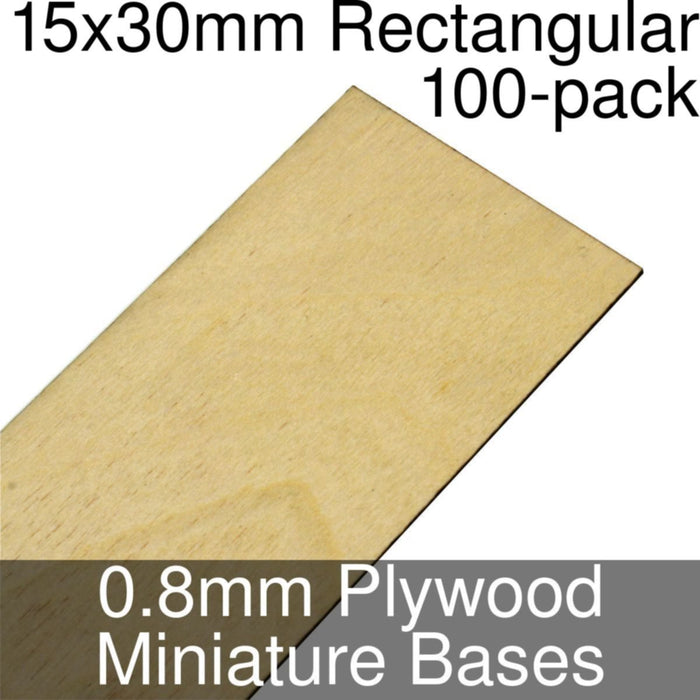 Miniature Bases, Rectangular, 15x30mm, 0.8mm Plywood (100) - LITKO Game Accessories