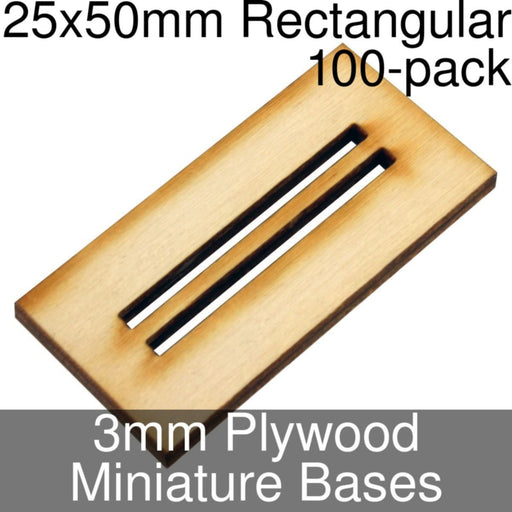 Miniature Bases, Rectangular, 25x50mm (Double Slotted), 3mm Plywood (100) - LITKO Game Accessories