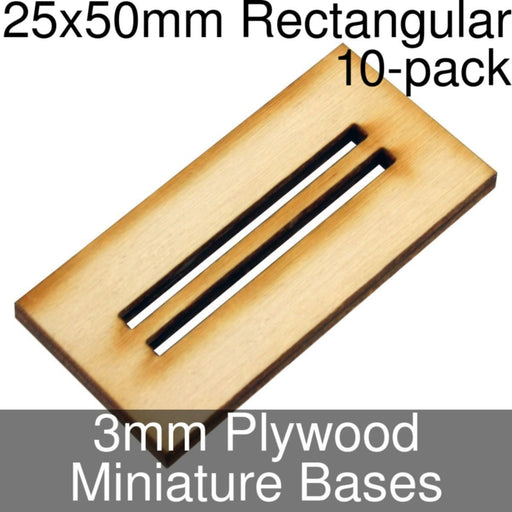 Miniature Bases, Rectangular, 25x50mm (Double Slotted), 3mm Plywood (10) - LITKO Game Accessories