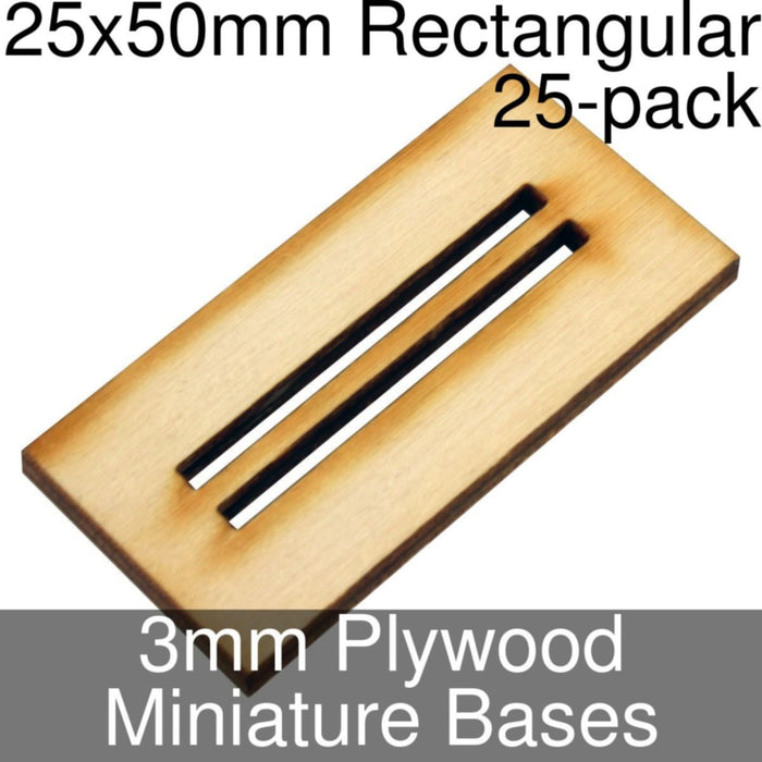 Miniature Bases, Rectangular, 25x50mm (Double Slotted), 3mm Plywood (25) - LITKO Game Accessories