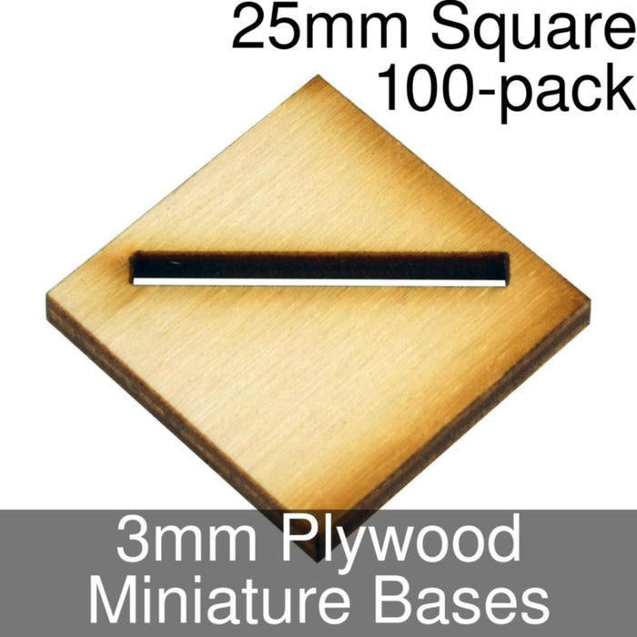 Miniature Bases, Square, 25mm (Diagonal Offset Slotted), 3mm Plywood (100) - LITKO Game Accessories