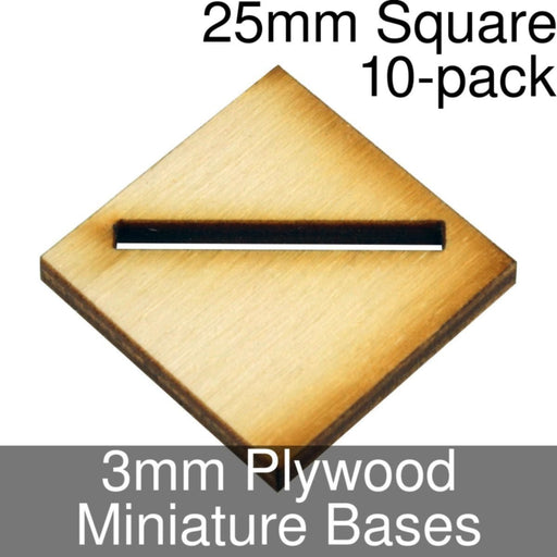 Miniature Bases, Square, 25mm (Diagonal Offset Slotted), 3mm Plywood (10) - LITKO Game Accessories