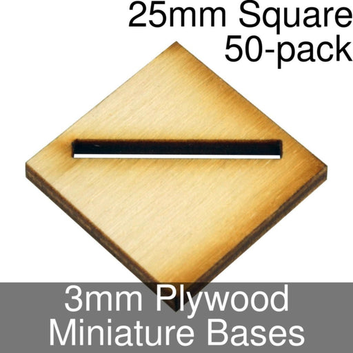 Miniature Bases, Square, 25mm (Diagonal Offset Slotted), 3mm Plywood (50) - LITKO Game Accessories