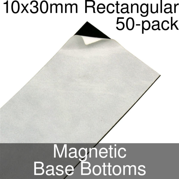 Miniature Base Bottoms, Rectangular, 10x30mm, Magnet (50) - LITKO Game Accessories