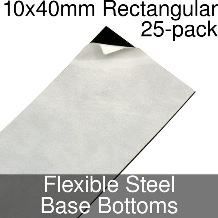 Miniature Base Bottoms, Rectangular, 10x40mm, Flexible Steel (25) - LITKO Game Accessories