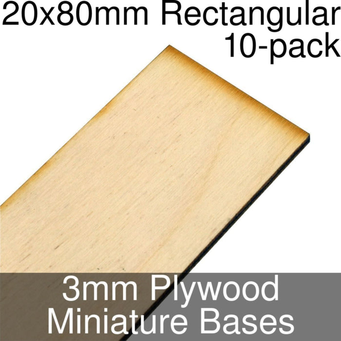 Miniature Bases, Rectangular, 20x80mm, 3mm Plywood (10) - LITKO Game Accessories