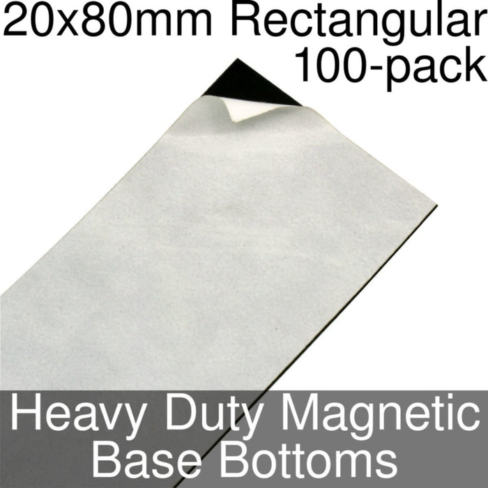 Miniature Base Bottoms, Rectangular, 20x80mm, Heavy Duty Magnet (100) - LITKO Game Accessories