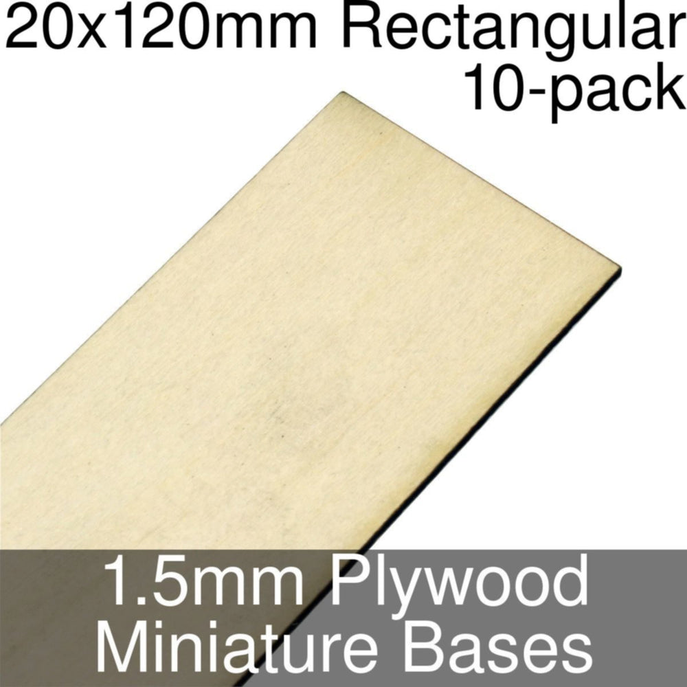 Miniature Bases, Rectangular, 20x120mm, 1.5mm Plywood (10) - LITKO Game Accessories