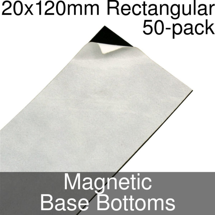 Miniature Base Bottoms, Rectangular, 20x120mm, Magnet (50) - LITKO Game Accessories