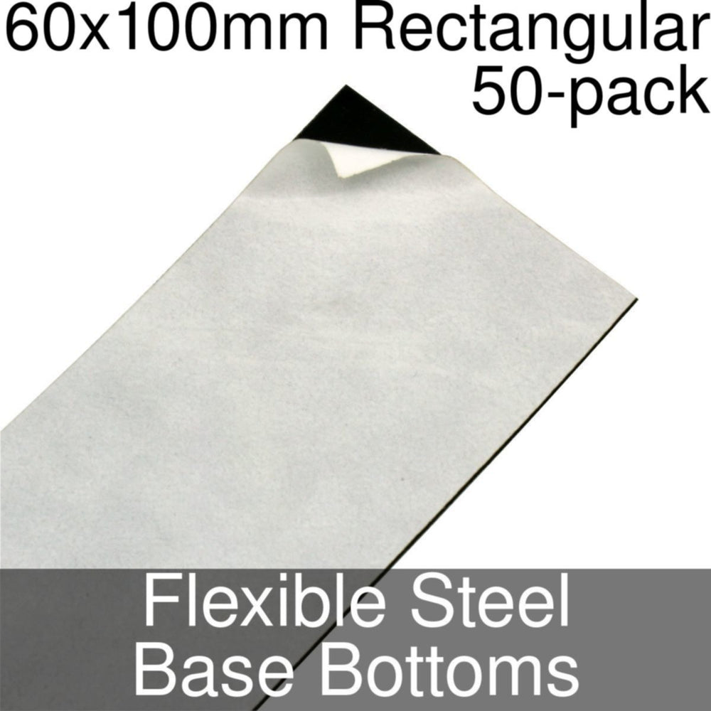 Miniature Base Bottoms, Rectangular, 60x100mm, Flexible Steel (50) - LITKO Game Accessories