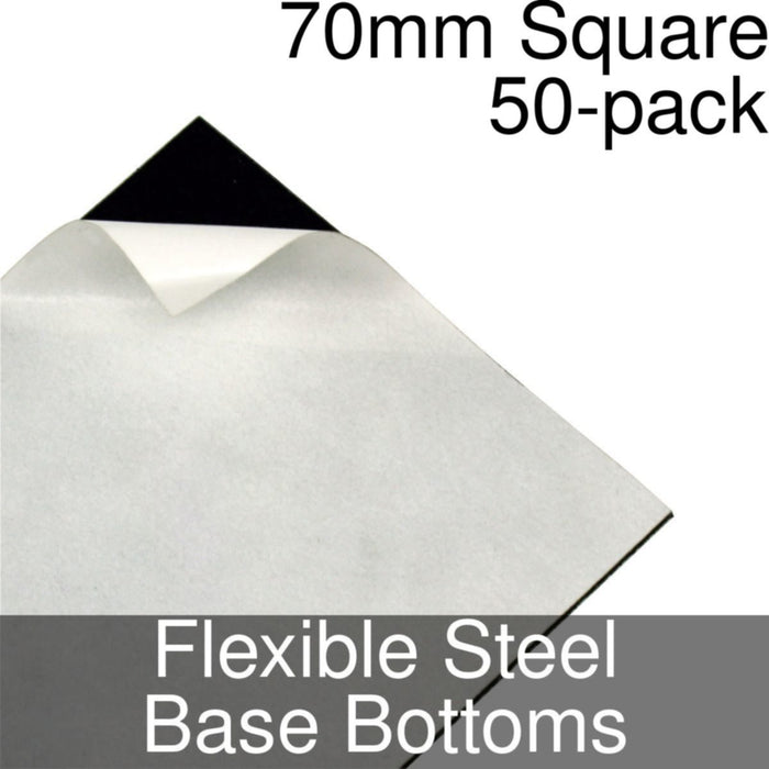 Miniature Base Bottoms, Square, 70mm, Flexible Steel (50) - LITKO Game Accessories