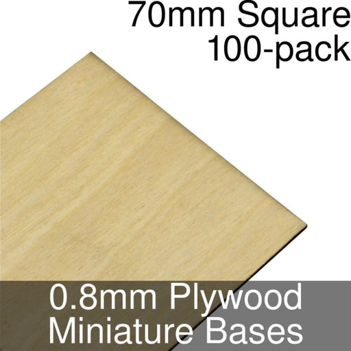 Miniature Bases, Square, 70mm, 0.8mm Plywood (100) - LITKO Game Accessories