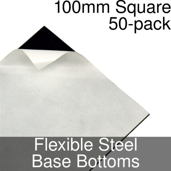 Miniature Base Bottoms, Square, 100mm, Flexible Steel (50) - LITKO Game Accessories