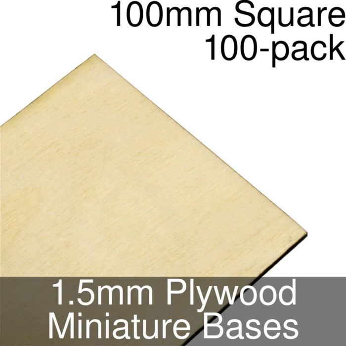 Miniature Bases, Square, 100mm, 1.5mm Plywood (100) - LITKO Game Accessories