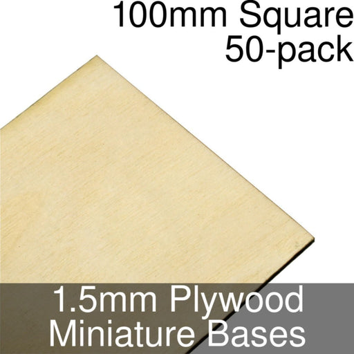 Miniature Bases, Square, 100mm, 1.5mm Plywood (50) - LITKO Game Accessories