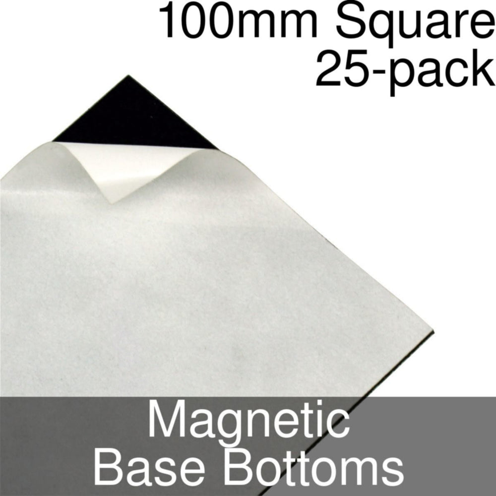 Miniature Base Bottoms, Square, 100mm, Magnet (25) - LITKO Game Accessories