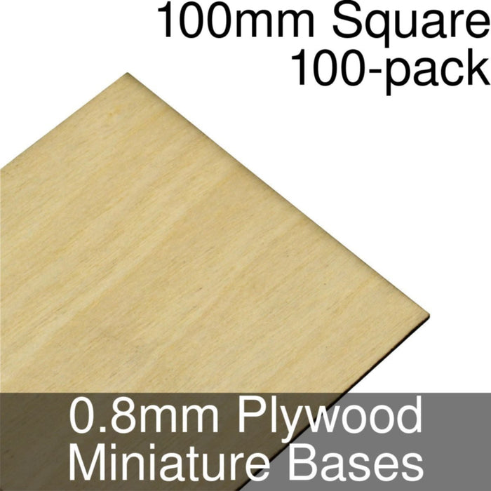 Miniature Bases, Square, 100mm, 0.8mm Plywood (100) - LITKO Game Accessories