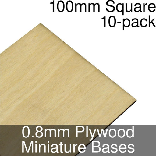 Miniature Bases, Square, 100mm, 0.8mm Plywood (10) - LITKO Game Accessories