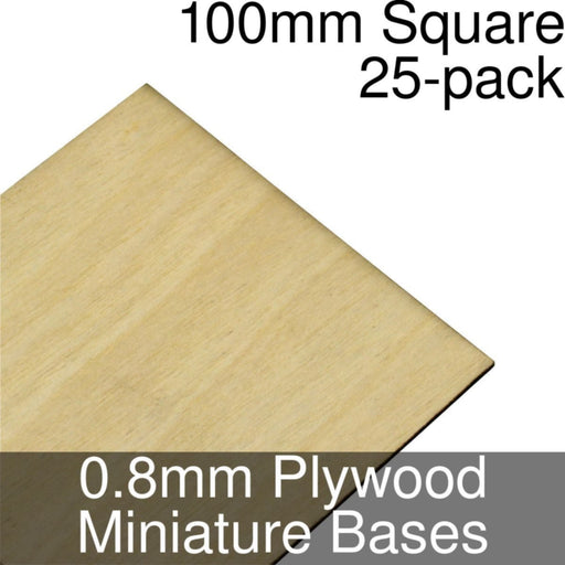 Miniature Bases, Square, 100mm, 0.8mm Plywood (25) - LITKO Game Accessories