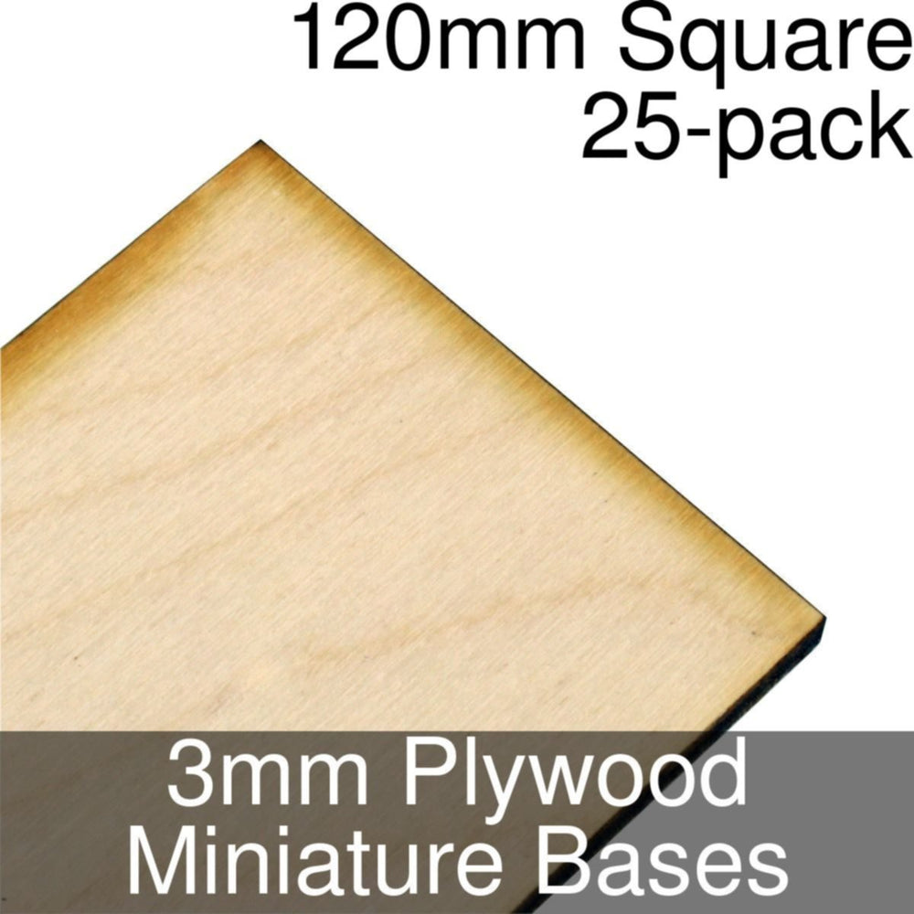 Miniature Bases, Square, 120mm, 3mm Plywood (25) - LITKO Game Accessories