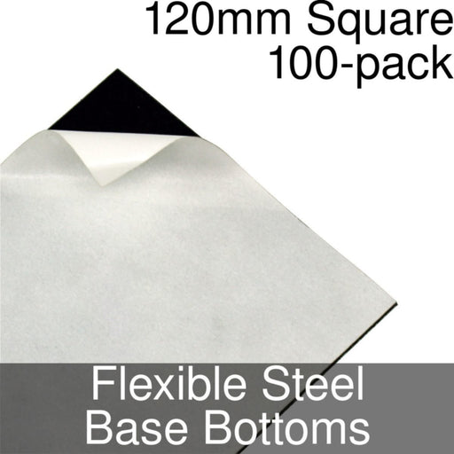 Miniature Base Bottoms, Square, 120mm, Flexible Steel (100) - LITKO Game Accessories