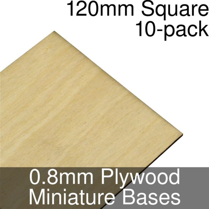 Miniature Bases, Square, 120mm, 0.8mm Plywood (10) - LITKO Game Accessories