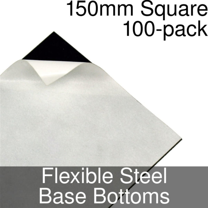 Miniature Base Bottoms, Square, 150mm, Flexible Steel (100) - LITKO Game Accessories