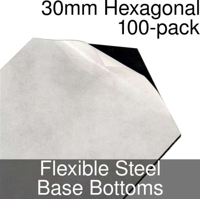 Miniature Base Bottoms, Hexagonal, 30mm, Flexible Steel (100) - LITKO Game Accessories