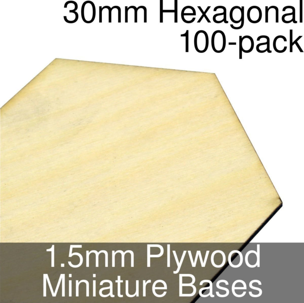 Miniature Bases, Hexagonal, 30mm, 1.5mm Plywood (100) - LITKO Game Accessories