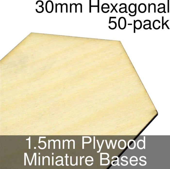 Miniature Bases, Hexagonal, 30mm, 1.5mm Plywood (50) - LITKO Game Accessories