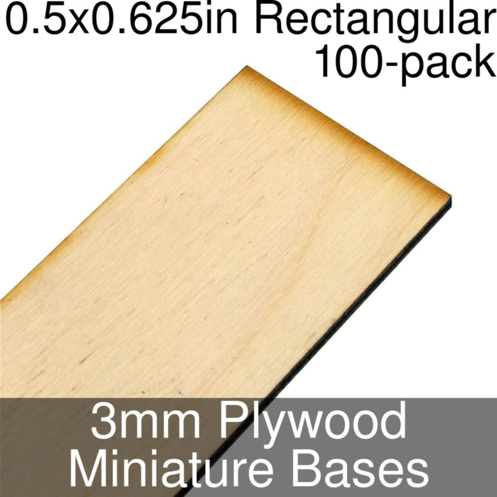 Miniature Bases, Rectangular, 0.5x0.625inch, 3mm Plywood (100) - LITKO Game Accessories