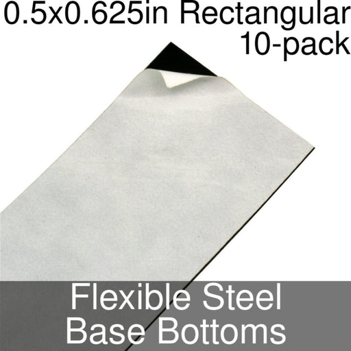 Miniature Base Bottoms, Rectangular, 0.5x0.625inch, Flexible Steel (10) - LITKO Game Accessories