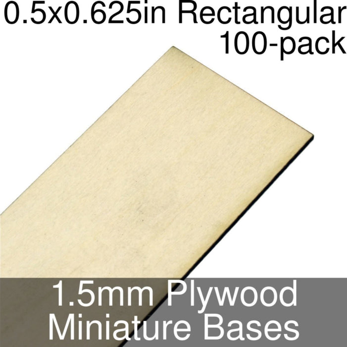 Miniature Bases, Rectangular, 0.5x0.625inch, 1.5mm Plywood (100) - LITKO Game Accessories