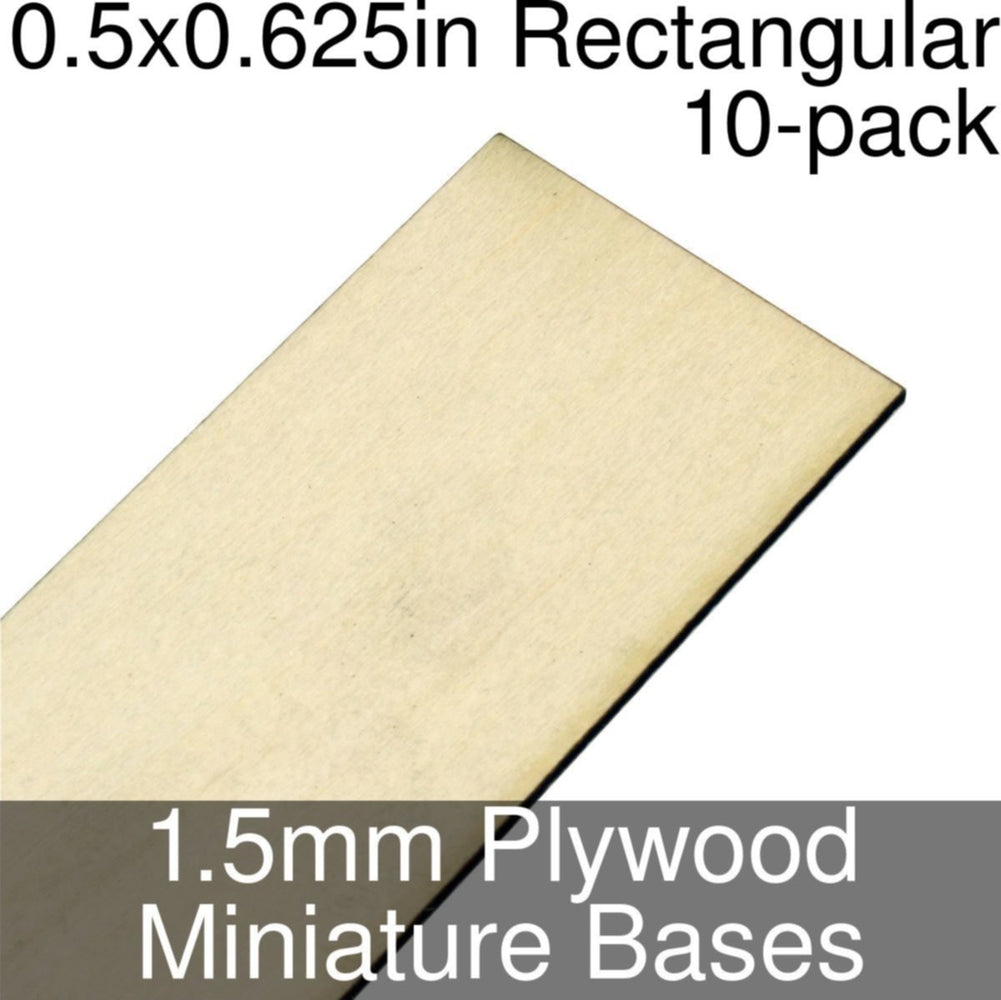 Miniature Bases, Rectangular, 0.5x0.625inch, 1.5mm Plywood (10) - LITKO Game Accessories